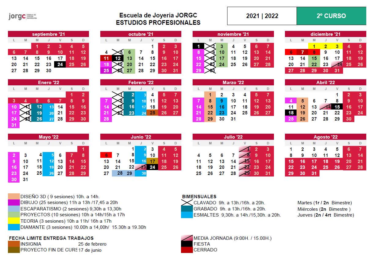 Calendario JP2 JORGC 2021-22