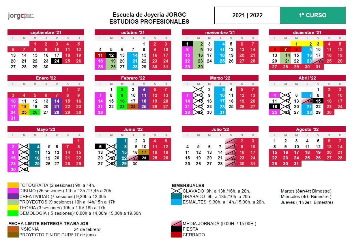 Calendario JP1 JORGC 2021-22